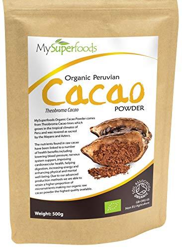 Poudre de Cacao Bio (500g) |MySuperFoods, Délicieuse et bonne pour vous, Riche en micronutriments, Certifiée biologique, Ancienne nourriture santé maya, Idéale pour les gâteries sucrées