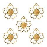 Xuebai 5pcs flor de cereza marcos de resina en blanco colgante bisel ajuste resina fabricación de joyas