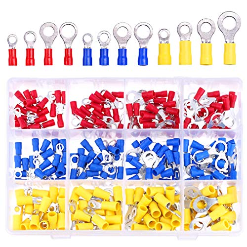 Hilitchi 240 Pcs Insulated Terminal Ring Electrical Wire Crimp Connectors Set, Yellow, Blue, Red
