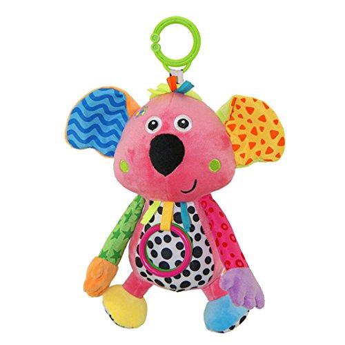 Happy Cherry - Juguete Musical Colgante para Bebé Animal Koala Infantil Peluche Felpa de Cochesito Cuna con Mordedor Sonido Traqueteos para Niños Niñas Arrastrar - Koala