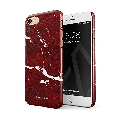 BURGA Hülle Kompatibel mit iPhone 7/8 / SE 2020 - Handy Huelle Iconic Rubin Rot Marmor Muster Ruby Red Marble Mädchen Dünn Robuste Rückschale aus Kunststoff Handyhülle Schutz Case Cover