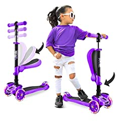 MULTI-COLOR WHEEL LIGHTS: The Hurtle ScootKid 3-Wheel Kick Scooters for Kids feature colorful LED turning wheel lights that light up in a variety of flashing colors as you scoot, adding a fun twist to the ride! It also makes the scooter stand out SIT...