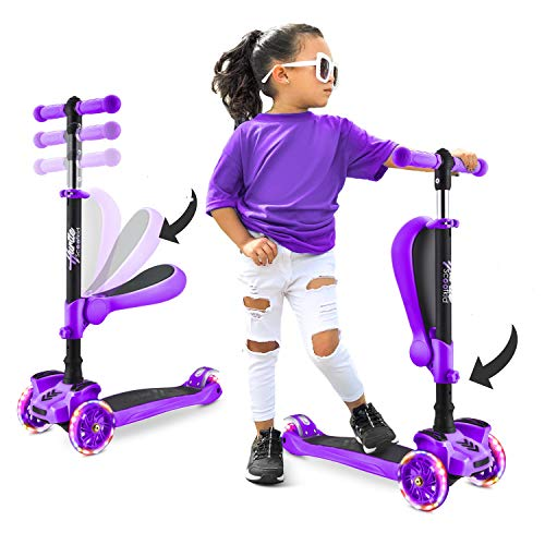Hurtle 3Wheeled Scooter for Kids  Wheel LED Lights Adjustable LeantoSteer Handlebar and Foldable Seat  Sit or Stand Ride with Brake for Boys and Girls Ages 114 Years Old