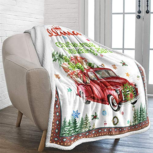 WONGS BEDDING Christmas Throw Blanket Reversible Christmas Tree Red Truck Printed Sherpa Blanket for Kids Soft Fuzzy Plush Fleece Blanket for Holiday Bed Couch 50x60 inches