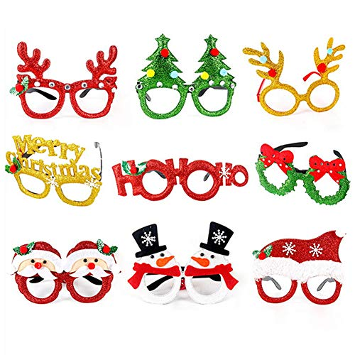 Christmas Party Glasses Frame Christmas Decoration Costume Eyeglasses Creative Funny Eyewear for Holiday Favors 9Pieces (Christmas Style Set)