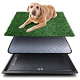 Upgrade Large Dog Grass Pad with Tray (35''X23.2''), Artificial Grass Mats Washable Pee Pad and Professionally Pet Toilet Potty Tray, Replacement Dogs Turf Potty Training for Indoor Outdoor Apartment