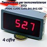 TERMOMETRO 4 CIFRE 12V PER TERMORESISTENZE RTD PT100, Cu100, Cu50, BA1, BA2, G53