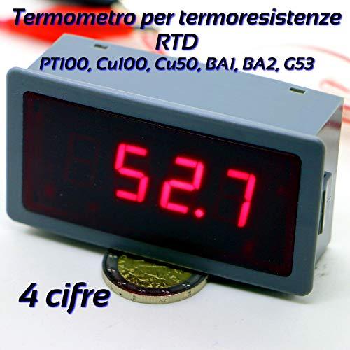 Termómetro 4 dígitos 12 V para termorresistencia RTD PT100, Cu100, Cu50, BA1, BA2, G53