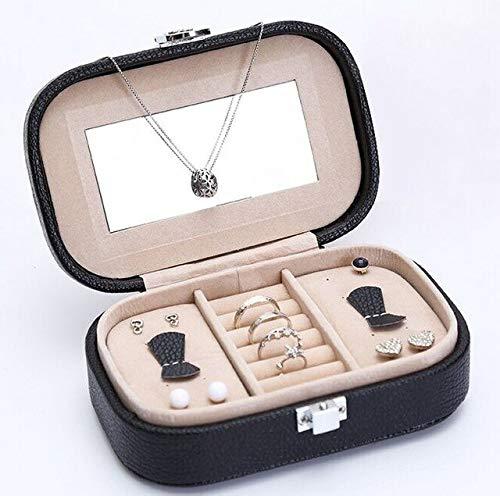 N / A Couleur Unie Organisateur de Bijoux boîte PU en Cuir boîte à Bijoux Dressing Case Boucle d'oreille et Bague Collection Bijoux Coffret Cadeau d'anniversaire 10x15x5 CM
