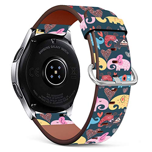 Replacement Leather Printing Wristbands Compatible with Galaxy Watch3 (45mm) / Galaxy Watch (46mm), Standard 22mm Strap - Elephants in The Clouds