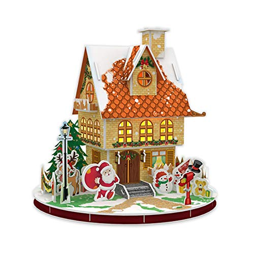 3D Christmas House Jigsaw Puzzle, Puzzle for Kids Snow Cottage Model Kits Rotatable Early Educational Toy for Boys and Girls,Desk Christmas Decor