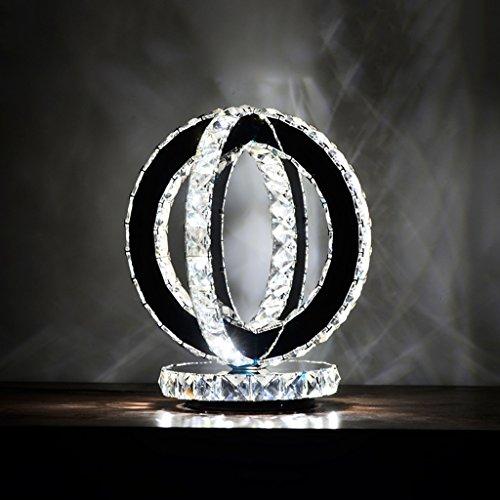 WSHFOR K9 Crystal Transparent Table lamp ,LED Warm White Light Mirror Stainless Steel Crystal Desk lamp, Lamps Suitable for Home, Bedroom, Living Room, Dining Room (Color : White Light)