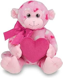 Bearington Lovie Louie Valentines Plush Stuffed Animal Monkey with Hearts, 11 inches