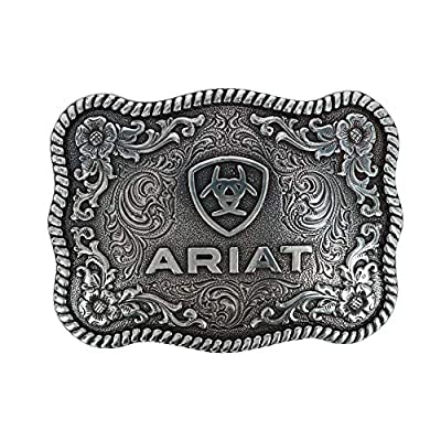 Ariat Rectangle Rope Edge Shield Buckle Silver One Size