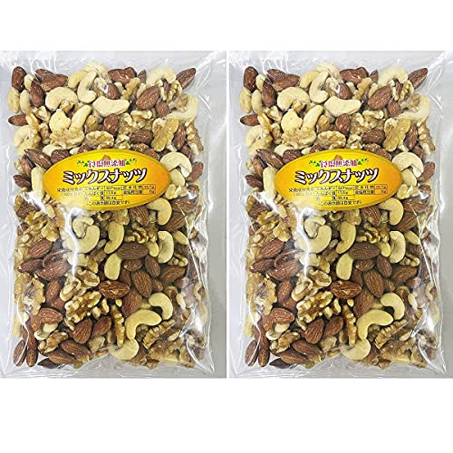 椿屋 無添加 ミックスナッツ ( カシューナッツ アーモンド くるみ 3種 )500g ×2個 ( 1kg ) セット 食塩不使用 オイル不使用