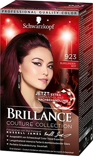 Schwarzkopf Brillance Intensiv-Color-Creme, 923 Burgunderrot Stufe 3, 3er Pack (3 x 143 ml)