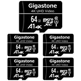Gigastone マイクロSDカード 64GB Micro SD card SDアダプタ付き U1 C10 90MB/S SDXC 5個セット 4K Ultra HD ビデオ 撮影