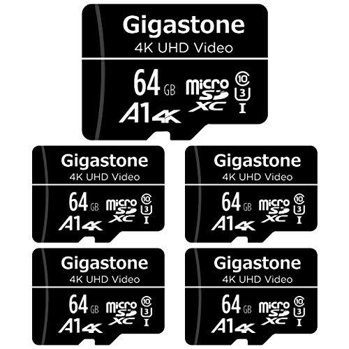 Gigastone Scheda di Memoria Micro SDXC da 64 GB e Adattatore SD, Set da 5, A1 U3 4K, Fino a 90 MB/s di Lettura, 30 MB/s di Scrittura per Videocamere Tavoletta Dashcam GoPro Canon Nikon DJI Drone