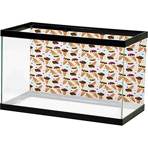 Ocean Aquarium Background Ice Cream,Chocolate Covered Ice Cream with Colorful Little Dots Frozen Desert Waffle Cones, Multicolor on The Backside