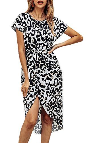 Spec4Y Damen Kleider Rundhals Kurzarm Sommerkleider Knielang Partykleid Gürtel Strandkleid mit Schlitz Leopard XL