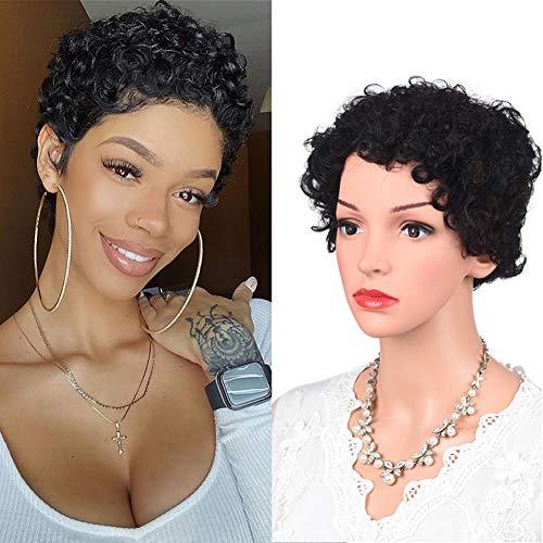 Kinky Curly Wig Brazilian Human Hair Wig Pixie Cut Short Afro Curl Wigs High Density for Black Women Girls Summer(Black)