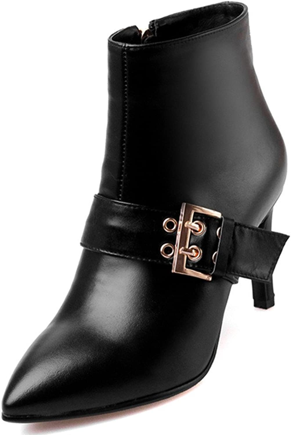 Nine Seven Leather Women's Pointy Toe Sexy Stiletto Heel Buckle Handmade Ankle Boot