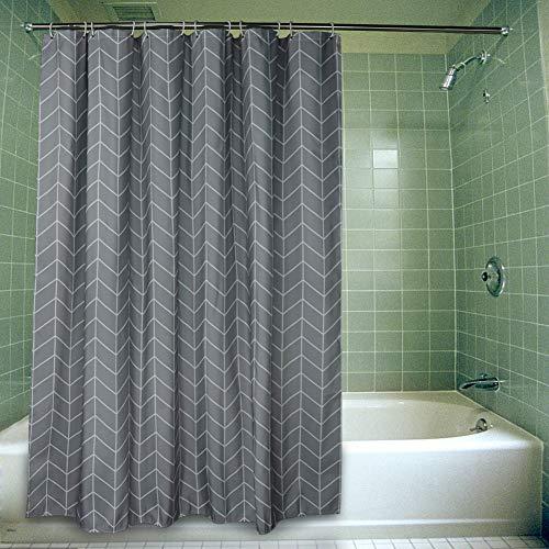 SueH Design Extra Dicker Duschvorhang aus Polyester mit Haken, Mehltauresistent, Wasserabweisend & Umweltfre&lich - Natürlicher Fischgrat