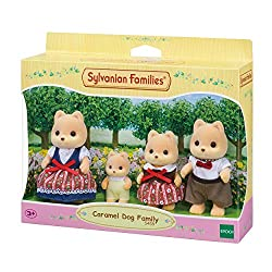 Caramel Dog posable collectable figures 4 piece set: Father, mother, girl and baby Dressed in removable fabric clothing Good for stimulating imaginative role-play in children Sylvanian Families miniature dollhouses, playsets and figures are timeless ...
