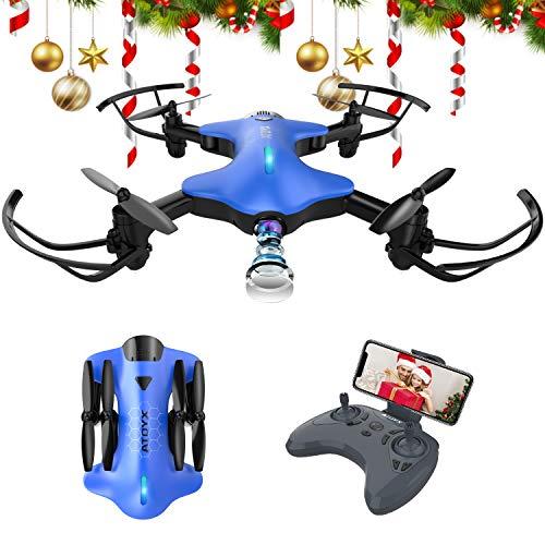 ATOYX AT-146 Drone con Cámara, Mini Drone Plegable con APP WiFi FPV 720 HD, Altitud Hold, Modo sin Cabeza, Una Tecla de Despegue y Aterrizaje de Gravedad RTF, Regalos de Navidad o Año Nuevo, Blanco