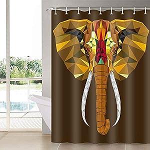 Aidatain Elephant Shower Curtain Golden Bath Curtains for Bathroom Set Vintage African Tribal Bathroom Curtains Shower Set for Bathtub 72x72 YLLTAT456