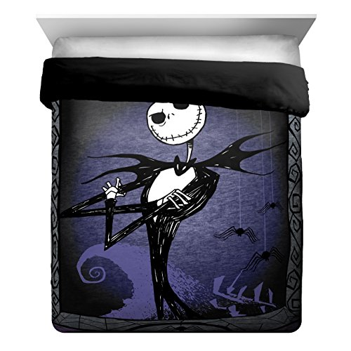 Disney Nightmare Before Christmas Meant to Be Full/Queen Comforter - Super Soft Kids Bedding Features Jack Skellington - Fade Resistant Polyester Microfiber Fill (Official Disney Product)