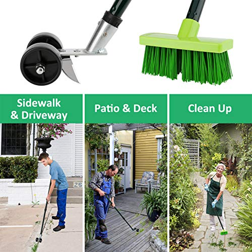 Kinaba Weed Grabber Remover Garden Tools for Driveway Patio Sidewalk, Crack and Crevice Weeding Tool and Broom