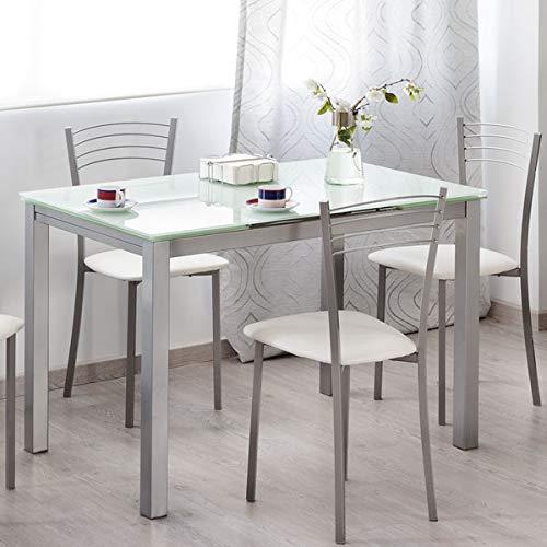 MerkaHome - Mesa Cocina Extensible DE Cristal 110X70