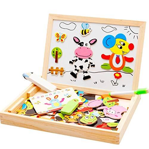 Juguete del bebé granja Jungle Animal magnético de madera multifuncional niños educativos niños rompecabezas dibujo juguete de madera bordo
