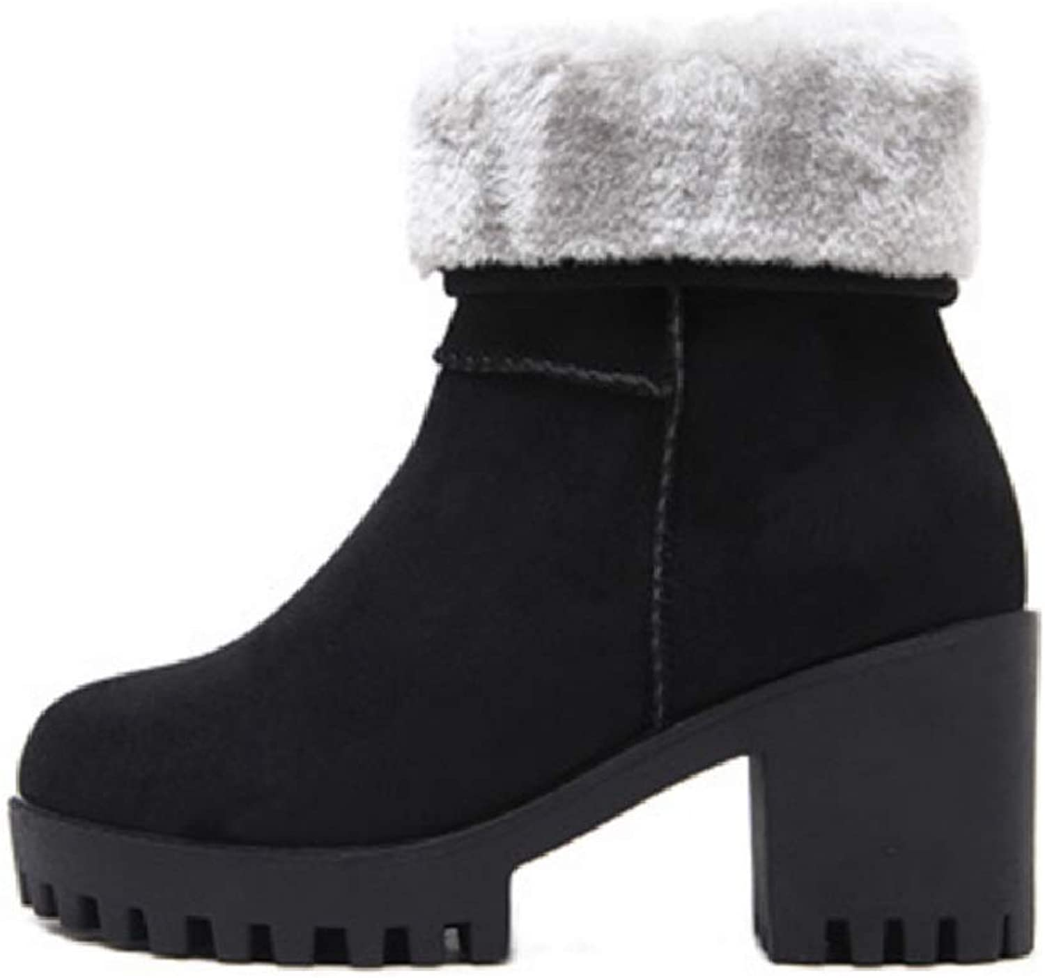Womens Ladies Winter shoes Flock Warm Snow Boots Fur Lined Chunky Block Elegant Heel Ankle Booties Outdoor Short Bootie Vintage Calf Boots