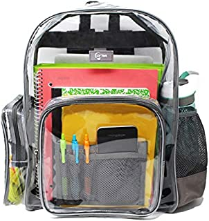 d5cb5584453 Large Heavy Duty Clear Backpack with Laptop Sleeve and Security  Pocket,Sturdy Stitches Using Durable