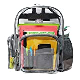 Large Heavy Duty Clear Backpack with Laptop Sleeve and, Clear, Size Large