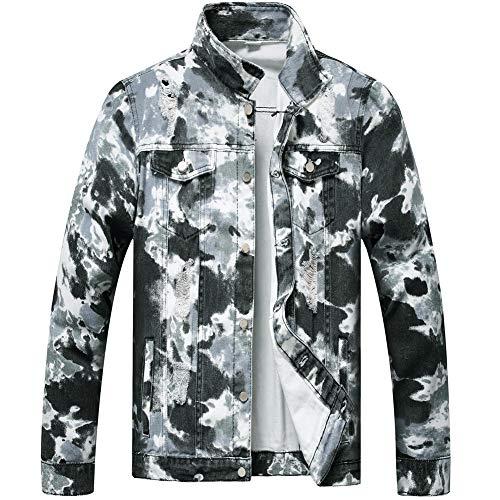 LZLER Jean Jacket for Men,Ripped Denim Jacket for Men with Holes(Black-White, Medium)