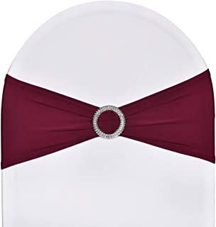 Best SweetEver Pack of 50 Stretch Spandex Chair Sashes for Wedding Party Banquet Decoration Elastic Bulk Chair Cover with Buckle Engagement Event Birthday Graduation Meeting Burgundy Review