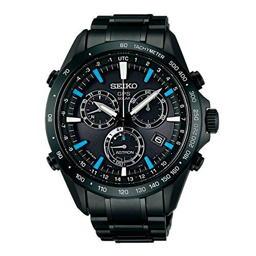 Seiko Solar SS Chronograph GPS Controlled Black Dial Men's Watch SSE013