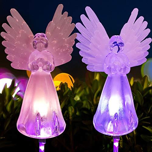 2Pcs Angel lamp Solar Lawn Light Angel Solar Lawn Light, Garden Angel Gifts Garden Decor Garden Gifts for mom Memorial Stones for Loved Ones