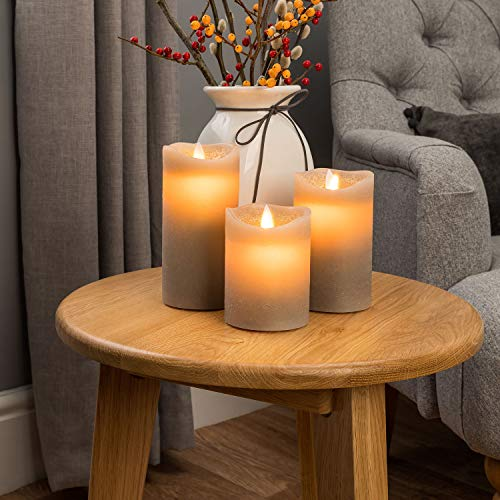 Christow LED Candles, Flickering Flameless Battery Pillar Lights, Real Wax, Warm White Glow, Remote Control with Timer & Brightness Function, Grey