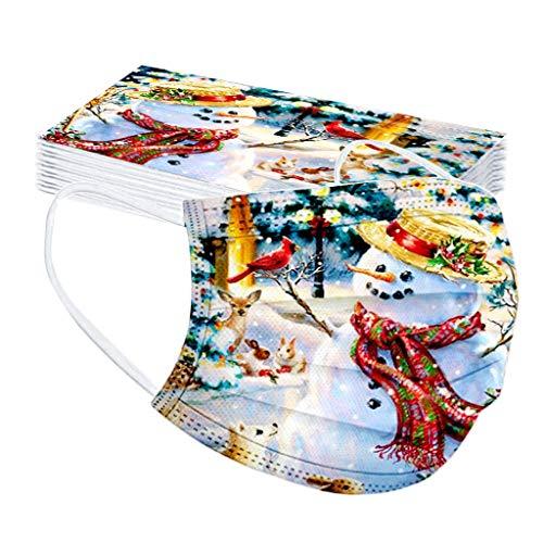 20 Stücke Erwachsene Einweg Mundschutz Mund Nasenschutz Mit Weihnachten Motive 3 Lagig Atmungsaktive Mund-Tuch Bandana Face Cover Halstuch Schals für Damen Männer