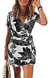 Longwu Vestido de Verano con Cuello en V y Estampado de Hojas con Estampado de Mini Vestido de Estilo francés con cinturón para Mujer Negro-XL