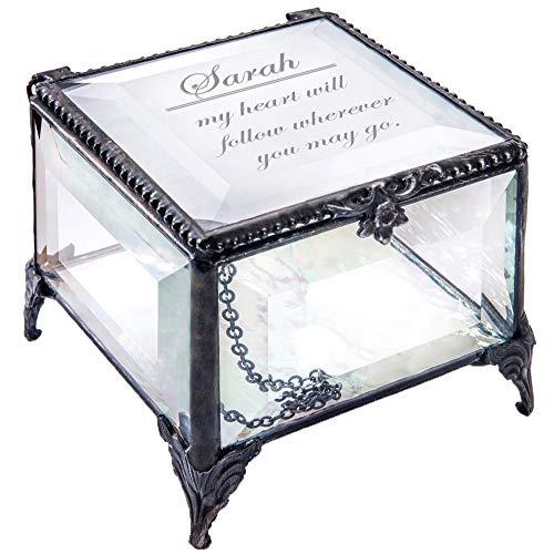 Personalized Clear Glass Box Decorative Vanity Display Case Storage Jewelry Organizer Keepsake Gift for Friend Daughter Sister Girl Women Vintage Decor J Devlin Box 326 EB246