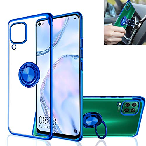 Huawei P40 Lite Case,Clear Silicone TPU,360° Ring Kickstand Stand,Electroplated Metal Technology case,Shockproof Protection Thin Transparent Cover,for Huawei P40 Lite (Blue)