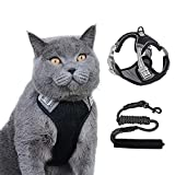 Cat Harness and Leash Set for Walking Outdoor,Escape Proof Soft Adjustable Kittens Vest Harnesses with Reflective Strip Breathable Jacket for Cats (Black, M)