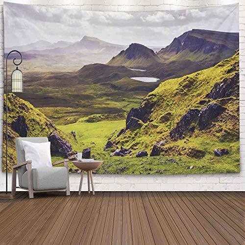 Tapiz para dormitorio, tapiz para pared, tapiz para colgar en la pared, tapiz para exteriores, vista del paisaje, montañas, isla de Skye, Escocia, Reino Unido, tapiz fresco para dormitorio, tapiz mode
