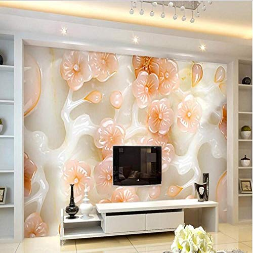 Ustomized Large - Scale Murals Dream Hd Jade Carving Plum Background Wall Wallpaper -300 * 210 Cm