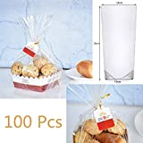 WOWOSS 100 Pezzi Sacchetti Trasparente, 14 * 7.6 * 28cm Bustine Trasparenti per Pane, Caramello, Biscotti e Alimentari, Sacchetti Trasparente Plastica OPP